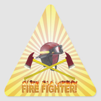 FIRE FIGHTER GEAR LOGO FLAMING TEXT TRIANGLE STICKER