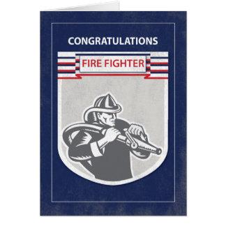 Fire Fighter Graduate Congratulations, Blue Greeting Card
