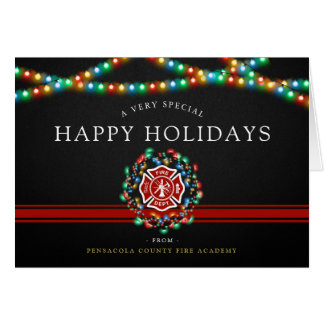 Fire Fighter Happy Holidays | Christmas Custom Card