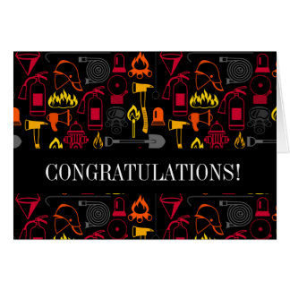 Fire Fighter Icons Pattern Black Card