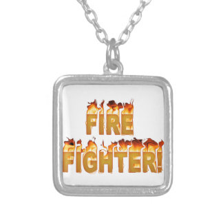 FIRE FIGHTER in Flames Silver Plated Necklace