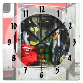Fire Fighting Gear Square Wall Clock