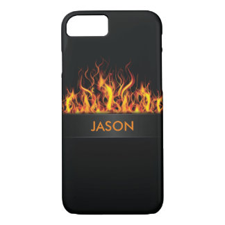 Fire Flames Black Background Monogram Customize iPhone 7 Case