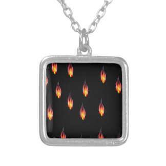 Fire flames silver plated necklace