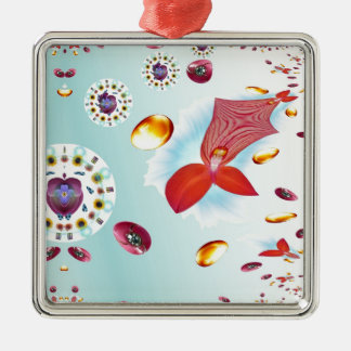 Fire Flower Silver-Colored Square Decoration