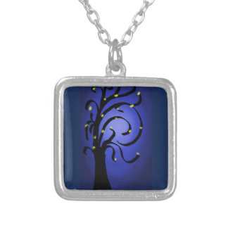 Fire Fly Tree Silver Plated Necklace