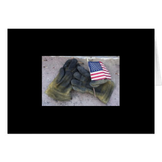 Fire gloves and Old Glory Greeting Card