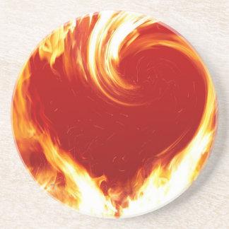 fire-heart drink coaster