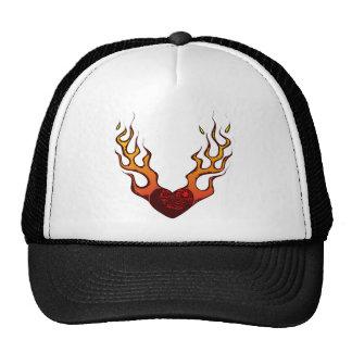 Fire heart fire heart flames fire heart flames mesh hats