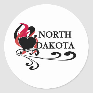 Fire Heart North Dakota Classic Round Sticker