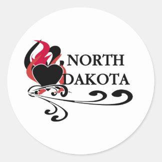 Fire Heart North Dakota Round Sticker