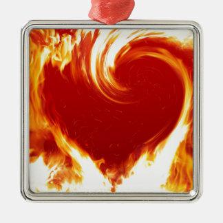 fire-heart Silver-Colored square decoration