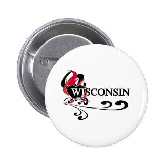 Fire Heart Wisconsin Pinback Buttons