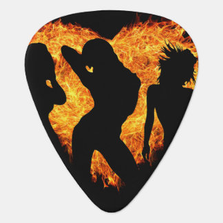Fire heart with Sexy Women Silhouettes Guitar Pick