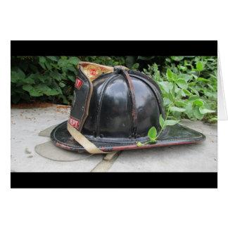 Fire helmet greeting card