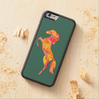 Fire horse silhouette abstract Phone wood case