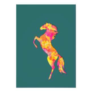 Fire horse silhouette abstract Photo print