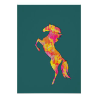 Fire horse silhouette abstract Poster print