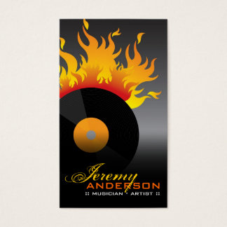 Fire Hot Flames Burn Retro Rock Old School Vinyl Business Card