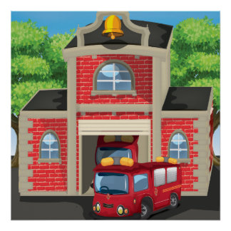Fire House and Fire Truck Poster