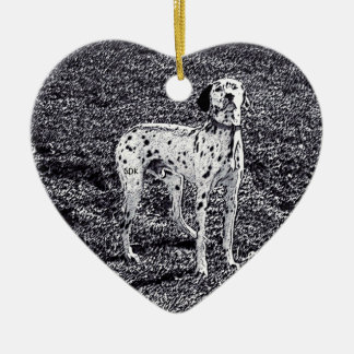Fire House Dalmatian Dog in Black and White Ink Ceramic Heart Decoration
