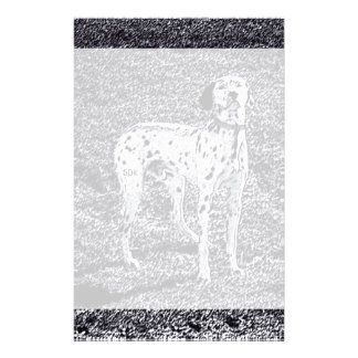 Fire House Dalmatian Dog in Black and White Ink Stationery