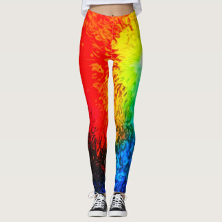 Fire & Ice Abstract Airbrush Tie Dye Leggings