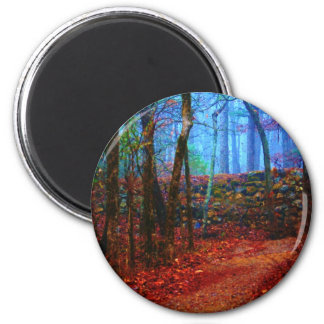 Fire & Ice Forest Oil Painting Gifts Apparel 6 Cm Round Magnet