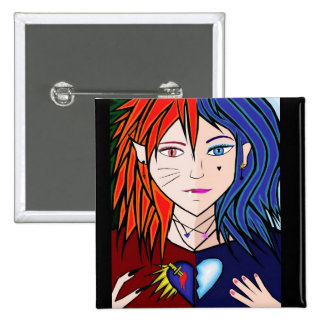 Fire Ice girl anime Button