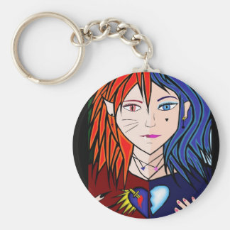 Fire Ice girl anime Basic Round Button Key Ring