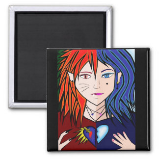 Fire Ice girl anime Refrigerator Magnets