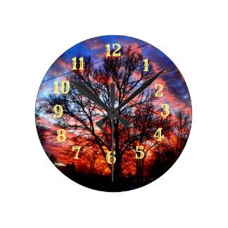 Fire & Ice Round Clock