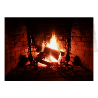 Fire in the Fireplace Burning Brightly Greeting Card