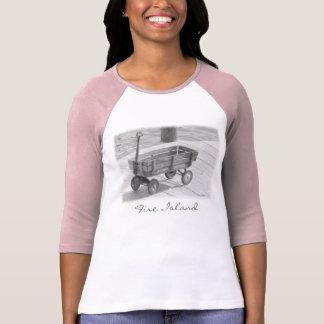 'Fire Island Wagon' Ladies' 3/4 Slve Raglan T T-Shirt