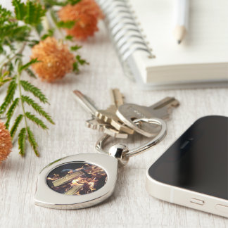 Fire keychain Silver-Colored swirl key ring