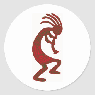 Fire Kokopelli Classic Round Sticker