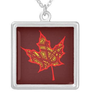 Fire Leaf Square Pendant Necklace