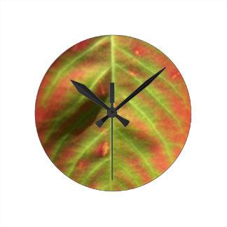 Fire Leaf Round Clock