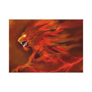 Fire lion artistic flames illustration canvas print