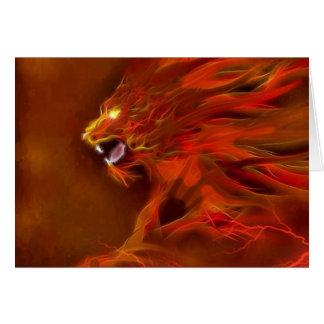 Fire lion artistic flames illustration greeting card