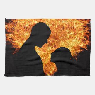 Fire Love Heart Hand Towel