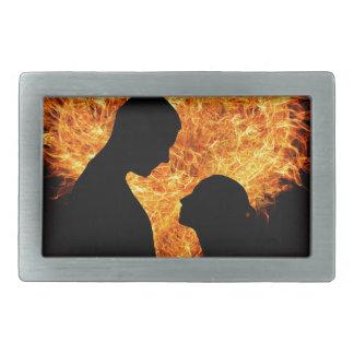 Fire Love Heart Rectangular Belt Buckles