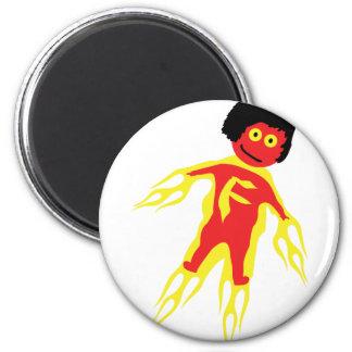 fire man icon 6 cm round magnet