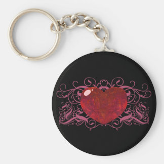 Fire Opal Heart Basic Round Button Key Ring