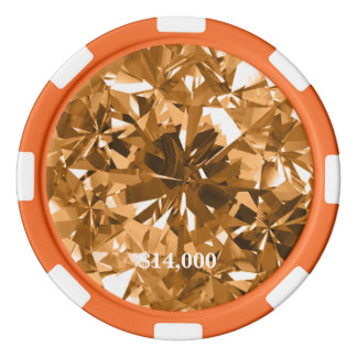 Fire Opal Honeysuckle Orange Gem Stone Poker Chip