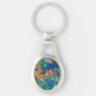 Fire Opal Silver-Colored Oval Key Ring