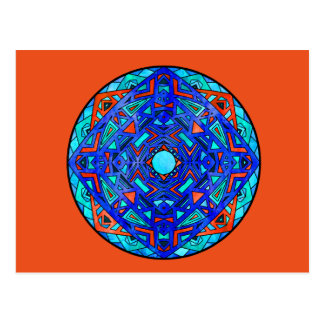 Fire Orange Deep Blue Aqua Sky Blue Mandala Card Postcard