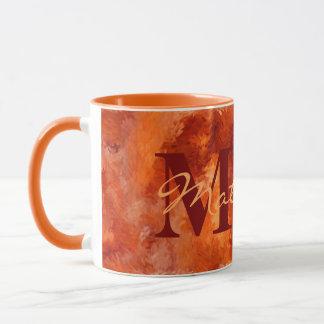 Fire Orange Impressions with Name and Monogram Mug