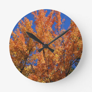 Fire Orange Tree Round Clock