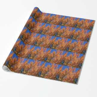 Fire Orange Tree Wrapping Paper
